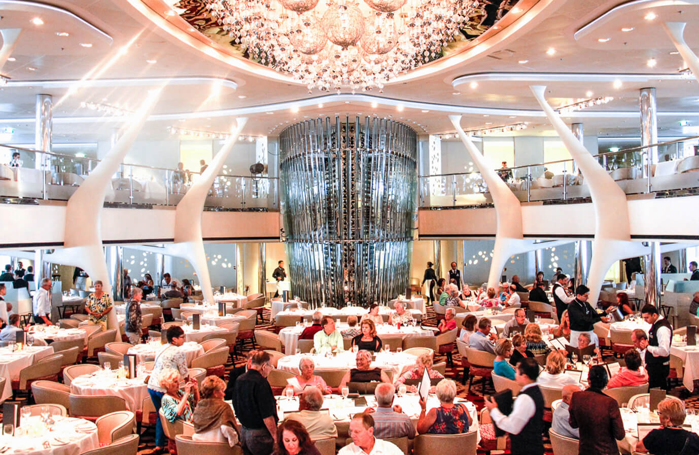 A big dining room on Cruise Ship during service